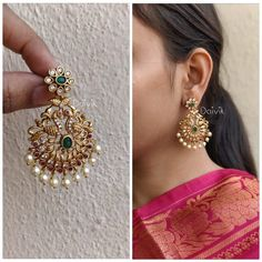 Designer Peacock Chandbalis intricated with AD stones and white pearl drops. The matte finish on the Earrings gives traditional look Diamond Earrings Indian, Gold Jhumka Earrings, Jewelry Design Earrings, Gold Earrings Designs, Gold Jewellery Design, Antique Earrings, Diamond Bangle, Necklace Designs, Gold Necklace