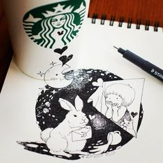 Artist Uses Starbucks Cups As Extension Of Canvas [Pics]