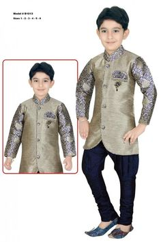 Party wear premium quality Sherwani features a shiny green grey color raw silk Kurtha with navy blue Pajama set. This Ethnic wear is soft and comfortable for kids and the Kurtha opens up to the front. Small Boy Dress, Baby Boy Dress, Mens Fashion Wear, Grey Fashion, Kids Fashion, Cute Outfits For Kids, Boy Outfits, Formal Outfits, Sherwani For Boys