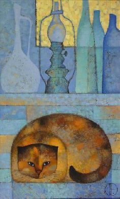 Trubina Natalya: Still Life with Cat and Lamps