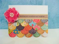 this would be cute for a scrapbook page too A different take on Jeanette's colorful card Fluff up/slightly curl circles to give dimension? Great card to use up scraps! by Cherion Brandon Handmade Greetings, Greeting Cards Handmade, Cool Cards, Diy Cards, Tarjetas Diy, Little Presents, Card Making Inspiration, Paper Cards, Creative Cards