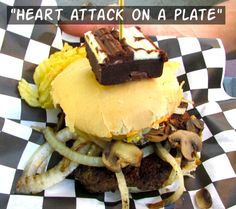 "Reg's ""Heart Attack On A Plate"" Burger at the PNE in Vancouver"