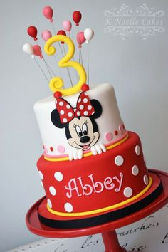 Minnie Mouse theme cake By K Noelle Cakes Mini Mouse Birthday Cake, Mickey Birthday Cakes, Mini Mouse Cake, Mickey Cakes, Birthday Cake Girls, Minnie Mouse Cake Design, Torta Minnie Mouse, Mickey Mouse Cupcakes, Bolo Mickey