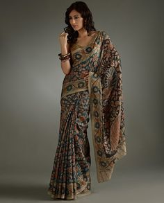Home :: Womens fashion :: Saree Designs :: Kalamkari Sarees :: Hand printed Kalamkari Authentic Saree with Blouse piece Design VI Latest Indian Saree, Indian Sarees, Indian Attire, Indian Ethnic Wear, Indian Dresses, Indian Outfits, Kalamkari Designs, Kalamkari Saree, Silk Sarees
