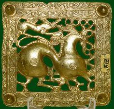 Griffin attacking a deer - Scythian golden artwork Gold scythian belt title from Mingachevir, Azerbaijan [7th cent BC] St Petersburg Hermitage