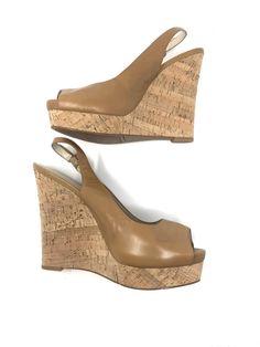 edc25cdd4873 Nine West Cork Wedge Slingback Peep Toe Womens Heels US Size 10M  fashion   clothing