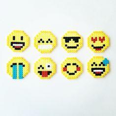Emoji perler beads by perler_art by lorie Perler Bead Emoji, Diy Perler Beads, Perler Bead Art, Pearler Beads, Fuse Beads, Perler Bead Designs, Hama Beads Design, Pearler Bead Patterns, Perler Patterns