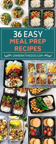 36 Easy Meal Prep Recipes for Breakfast, Lunch and Dinner #Vegetariandinners,breakfastandlunches