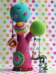 crochet rainbow tree #amigurumi