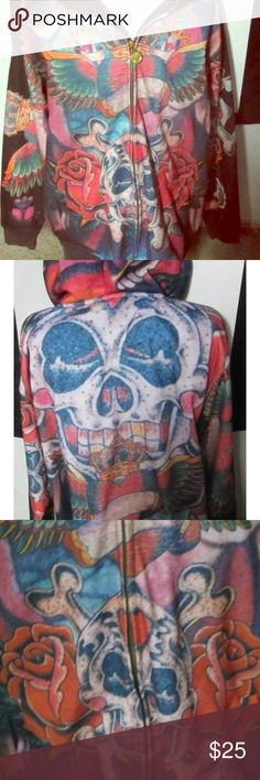 Kanji Jeans Skull Hoodie Kanji Jeans Skull with Roses and Heart with wings Hoodie sweatshirt size 3xl Kanji Jeans Sweaters Zip Up