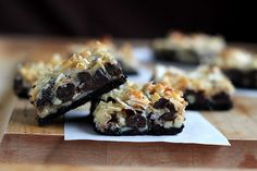 Snack break!  Almond Joy Cookie Bars recipe:  I make these about every other week or so. You can substitute graham crackers for the Oreo crust (or do a mix of both) and I cut the choco chips down to about one cup