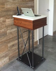 Rebar and Walnut Hostess Stand by Dorset Custom Furniture seen at Vignette Pizzeria, Sebastopol Solid Wood Furniture, Custom Furniture, Furniture Design, Industrial Style Coffee Table, Counter Design, Contemporary Chairs, Furniture Making, Barber Shop, Restaurant Bar