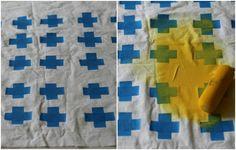 Como fazer uma estampa geométrica rápida com fita adesiva em tecido para almofadas, cortinas, guardanapos e outros itens de decoração ~ VillarteDesign Artesanato