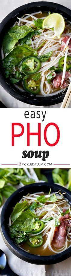 Easy Pho Soup Recipe - Slurp your noodles with abandon in 30 minutes with this Easy Pho Soup Recipe! A quick, satisfying and full-flavor version of Vietnam's national dish. Recipe, Vietnamese food, so (Noodle Soup Recipes) Beef Pho Soup Recipe, Soup Recipes, Cooking Recipes, Healthy Recipes, Pho Recipe Easy, Beef Recipes, Pho Beef, Chicken Recipes, Recipies