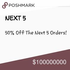 50% OFF Next 5 Orders 50% Off Other