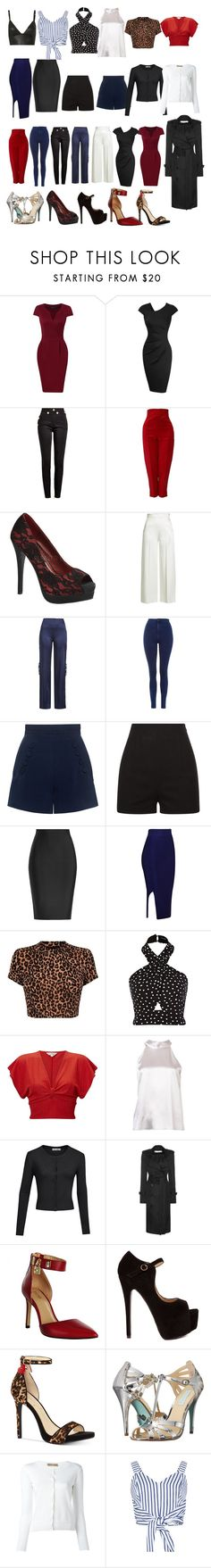 """""""femme fatal capsule wardrobe"""" by traceyenorton ❤ liked on Polyvore featuring Balmain, Versace, Pinup Couture, Roland Mouret, Jonathan Simkhai, Topshop, Finders Keepers, La Perla, Miss Selfridge and Galvan"""