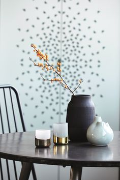 Modern yet earthy style on these matt black vases from House Doctor. Hand made from clay with a simple groove design which also gives the vases a nice texture. Decor, Circle Table, Earthy Style, Elle Decor, Inspiration, Interior Inspiration, House Doctor, Home Decor, Vase