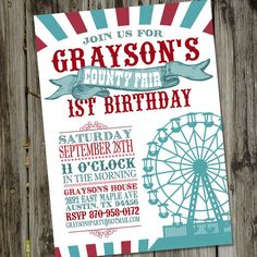 County Fair Carnival Vintage Printable Birthday Party Invitation by partymonkey on Etsy https://www.etsy.com/listing/151968258/county-fair-carnival-vintage-printable