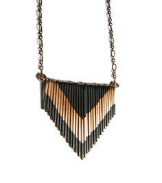 Copper Fringe Necklace - Petite version - Multi V copper and black - copper jewelry. $47,00, via Etsy.