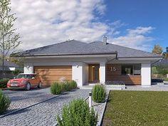Decyma 6 projekt domu - Jesteśmy AUTOREM - DOMY w Stylu 4 Bedroom House Plans, My House Plans, House Plans With Photos, Modern Bungalow, House Front, Home Fashion, Garage Doors, Exterior, House Design