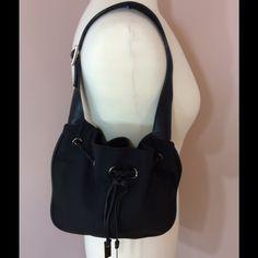 Black Auth Gucci drawstring shoulder bag! Cute! Great condition please ask for description. Gucci Bags Shoulder Bags