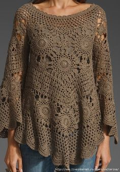 The free crochet patterns shape twisted like a lacy fabric and is made with two different needles that have hairgrips the tips. This manual. Woman blouse crochet work with free graphic ~ ☀ YaRn&Crochet María Cielo: Crochet knitted ponchos and two needl Pull Crochet, Crochet Tunic, Irish Crochet, Crochet Yarn, Crochet Clothes, Crochet Tops, Crochet Woman, Pulls, Crochet Patterns