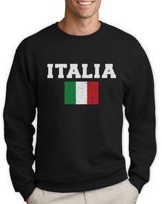 d83a66564c3e62 Italian Flag Sweatshirt Italy Soccer Team Footbal Fan World Cup Crewneck  Jumper