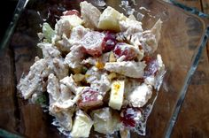 Skinny Chicken Waldorf Salad skip the mayo a little more yogurt and season to taste.. maybe some dill    per serving: 1 Red 1 Purple  1/2 Green  1 Blue (optional)    with 2 tortilla = 1 yellow..  over mixed greens add another Green