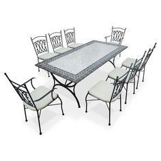 Romantique salon de jardin table ronde 100cm 4 places - Table ceramique jardin ...