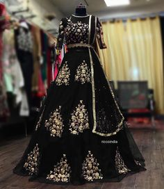 Stunning Heavy Net Lehenga with Blouse and Dupatta 🌺 Beautiful Zari Embroidery Stone Work done. 👗 Dm For Price and More Details . 🌾 Shipping - All Over India . Black Bridal Dresses, Party Wear Indian Dresses, Indian Wedding Gowns, Indian Fashion Dresses, Designer Party Wear Dresses, Indian Bridal Outfits, Indian Gowns Dresses, Indian Bridal Fashion, Dress Indian Style