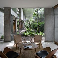 Cool 40 Fabulous Indoor Outdoor Living Spaces Design Ideas That You Need To Try Concrete Architecture, Tropical Architecture, Residential Architecture, Architecture Design, Colonial Architecture, Modern Tropical House, Tropical House Design, Tropical Houses, Design Living Room