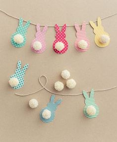 Easter Garland with Bunnies in a Few Easy Steps! - DIY Candy-Easter Garland with Bunnies in a Few Easy Steps! – DIY Candy This colorful Easter garland is so easy to make with scrapbook paper and yarn! Both kids and adults will love making this together. Bunny Crafts, Easter Crafts For Kids, Diy For Kids, Easter Ideas, Egg Crafts, Kids Fun, Unicorn Crafts, Preschool Crafts, Easter Activities