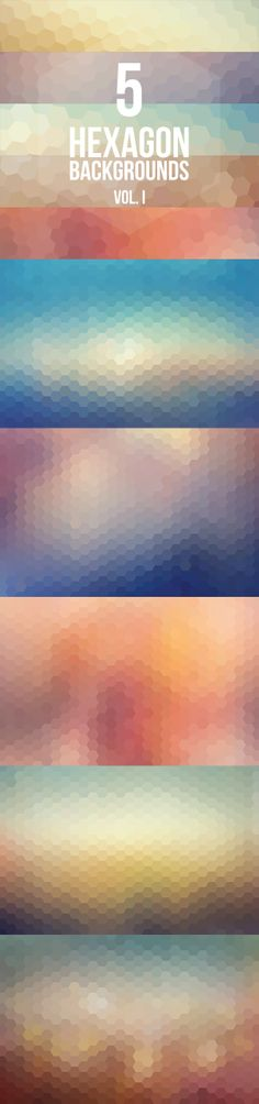 5 Hexagon Backgrounds Vol. I :: free download #Free #Backgrounds