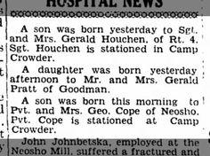 Houchen, Cope births, Camp Crowder, 30 Nov 1942