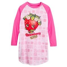8abc6b9e86 Shopkins Strawberry Kiss Long Sleeve Girl s Nightgown Size XS 4 5
