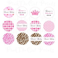 Printable Personalized Princess Small Candy Labels - Zebra Crown  Bottlecap Labels Tags Magnets Buttons Stickers Pink Polka Dots