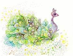 Green Peacock Drawing - Original Art with Sharpies, Copic markers, and LOVE