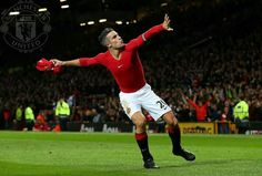 RvP tosses his jersey after scoring in match against Chelsea.
