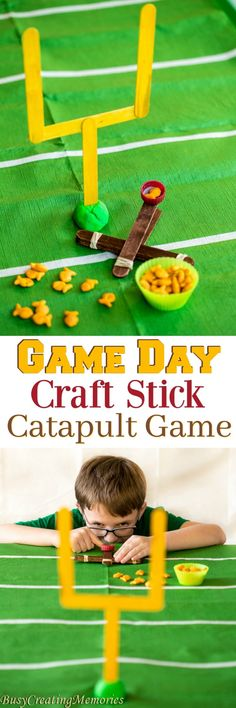 Make your Game Day Fun for the kids with this fun Craft Stick Catapult game. The football craft stick catapult game is quick and easy and great for Game Day via @2creatememories