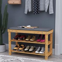 2 Drawers Bench Seat Pad Storage Baskets Cube Shoes Rack Footstool Lift Up Lid