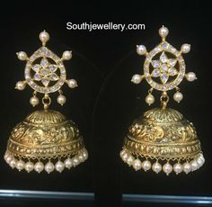22 Carat gold antique finish nakshi jhumkas studded with cz stones and south sea pearls by Omprakash Jewellers and Pearls. Jhumki designs, 22 carat jhumki models, buttalu models, big size buttalu designs For inquiries whatsapp: 91 9550170099 Indian Wedding Jewelry, Indian Jewelry, Bridal Jewelry, Indian Bridal, Gold Temple Jewellery, Gold Jewelry, Cz Jewellery, Gold Gold, Indian Jewellery Design