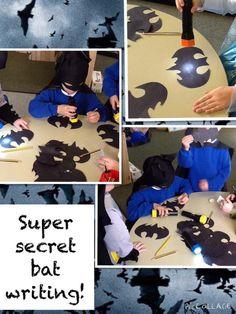 What a brilliant idea - secret bat writing Superhero Writing, Superhero Classroom Theme, Eyfs Classroom, Classroom Themes, Superhero Party, Super Hero Activities, Eyfs Activities, Writing Area, Writing Prompts