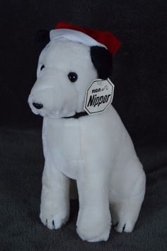 "RCA NIPPER w/Santa Hat 11"" Christmas Plush Dog by Dakin 1980 stuffed FREE SHIPP #Dakin #RCA #nipper"