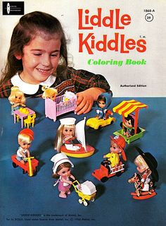 Liddle Kiddles Coloring Book -- This shows the original 10 Kiddles: Greta Griddle (table), Liddle Diddle (baby), Babe Biddle (car), Millie Middle (sandbox), Bunson Bernie (fireman), Calamity Jiddle, Florence Niddle, Biff Biddle (wagon), Sally Siddle (sailor)