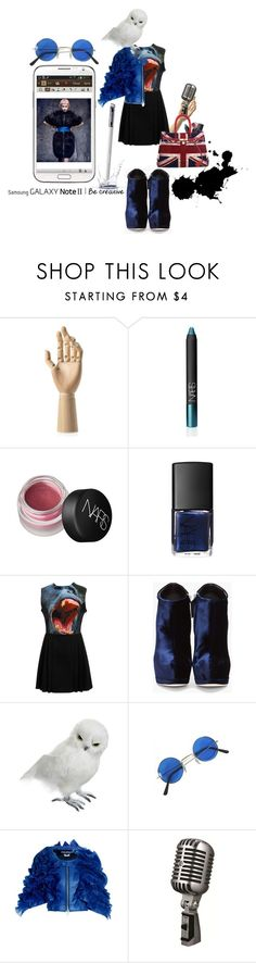 """""""Create a Downtown Muse look for a chance to win a Samsung GALAXY Note II!"""" by sanctuary-jones ❤ liked on Polyvore featuring NARS Cosmetics, Samsung, Christopher Kane, Giuseppe Zanotti, Junya Watanabe, Shure, blue shoes, union jack, junya watanabe and british"""