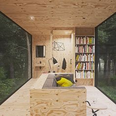Polish designer Tomek Michalski has created this quiet forest cabin. The contemplative cabin is set within the depths of a forest in Poland, and is the Plywood Interior, Plywood Walls, Log Cabin Designs, Forest Cabin, Cabin In The Woods, Interior Architecture, Interior Design, Architecture Portfolio, Tiny Cabins
