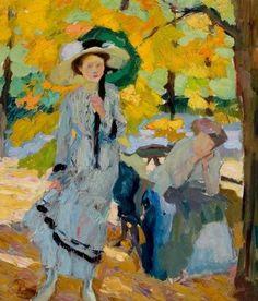 Edward Cucuel - Woman with Umbrella