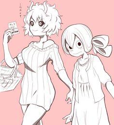 Ashido Mina and Asui Tsuyu