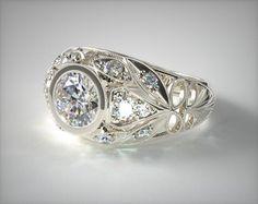 14K White Gold Twirled Fleur de lis Diamond Engagement Ring
