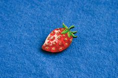 Strawberry berry plant red badge brooch pin wooden wood painted gift present idea